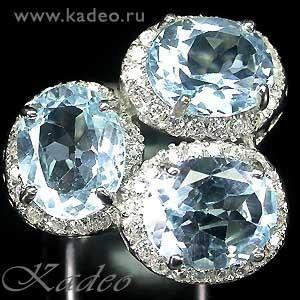 Сверкающие ТОПАЗЫ SKY BLUE, белые топазы в белом золоте и серебре, размер 18