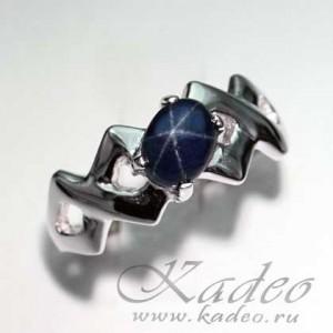 САПФИР синий звездчатый природный. Звезда в камне, золото, серебро. Кольцо р. 18,75