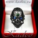 Кольцо ЧЕРЕП. Серебро 925, зеленый гранат, синий кварц