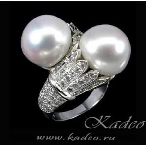 Кольцо с природным ЖЕМЧУГОМ и белыми ТОПАЗАМИ в золоте и серебре, размер 19