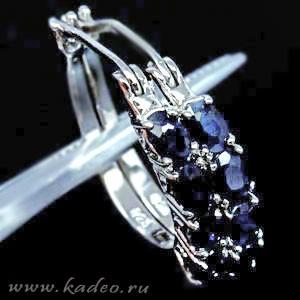 САПФИРЫ природные сине-черные, белое золото, серебро. Серьги кольца