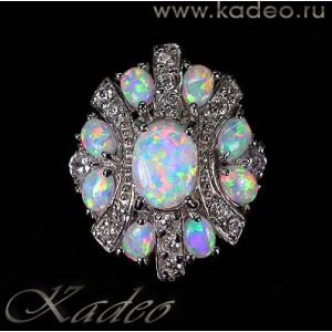 Кольцо - ОПАЛ многоцветный, белые ТОПАЗЫ в золоте и серебре