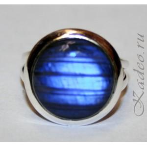 Кольцо - ГЛАЗ ЛАБРАДОРА / лабрадорит - черный лунник от сглаза. Серебро 925, размер 17