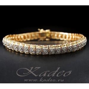 Браслет ART DECO с бриллиантами, серебро, желтое и белое золото