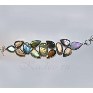 БРАСЛЕТ: камень мистик ЛАБРАДОР, лабрадорит, серебро, ручная работа