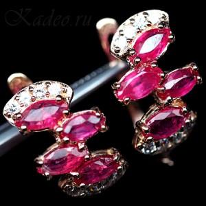 Серьги с натуральными мадагаскарскими РУБИНАМИ и ТОПАЗАМИ в розовом золоте и серебре