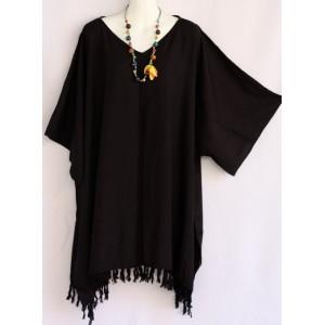 летняя ТУНИКА - ПОНЧО - ПЛАТЬЕ, цвет черный, 2X-6X , натуральный шелк, 100% Rayon Индонезия