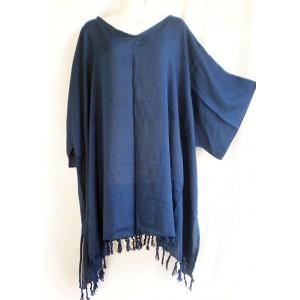летняя ТУНИКА - ПОНЧО - ПЛАТЬЕ, цвет синий, 2X-6X , натуральный шелк, 100% Rayon Индонезия
