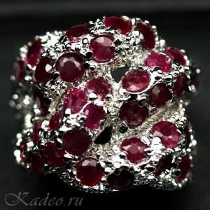 Шикарное кольцо с природными РУБИНАМИ в белом золоте и серебре, родирование