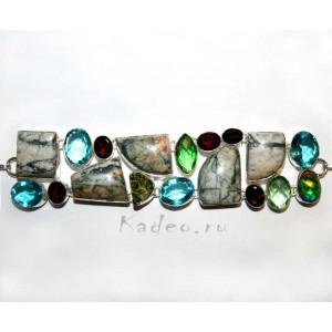 КРУПНЫЙ браслет: природные ЯШМА, МОЛДАВИТ, КВАРЦ, ГРАНАТ, серебро 925
