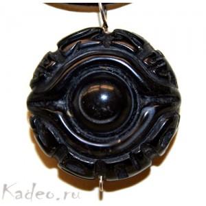 Тибетский артефакт ДЗИ: Божественный глаз и священные МАНТРЫ. Резьба 3D , Агат. Подвеска
