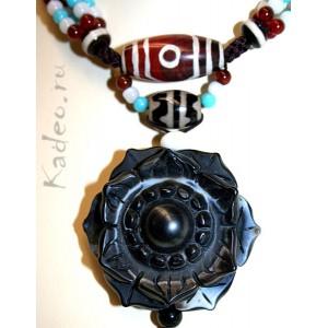 ДЗИ Лотос, всевидящее Око + 3 глаз ДЗИ + Дзи ТИГРА.. 3D резьба по камню Агат. Тибет