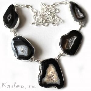 Друзы природного АГАТА, слайс, кристаллы кварца в серебре. Колье