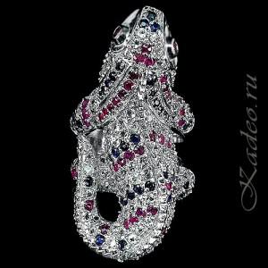 Кольцо ГИГАНТ! Игуана - Дракон - Ящерица:  РУБИНЫ, САПФИРЫ, ТОПАЗЫ. Платина, серебро