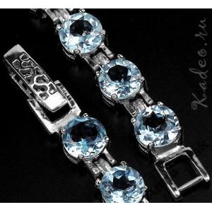 Браслет: ТОПАЗ SKY BLUE природный в платине и серебре
