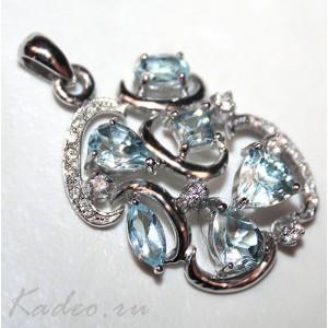 Подвеска с ТОПАЗАМИ, цвета SKY BLUE природный в платине и серебре. Кулон