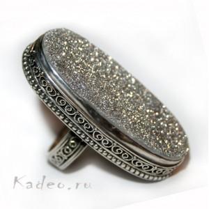 ГИГАНТ! Кольцо с ДРУЗОЙ (щеткой) АГАТА. Кристаллы кварца в серебре