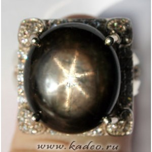Перстень с крупным ЗВЕЗДЧАТЫМ САПФИРОМ. Кольцо р. 17,75