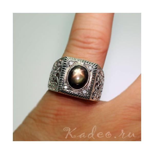 сапфир кольцо мужское