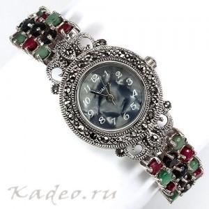Водостойкие дизайнерские часы: САПФИРЫ, РУБИНЫ, ИЗУМРУДЫ, МАРКАЗИТЫ серебро