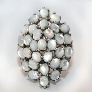 Редкий размер! КОЛЬЦО с природным ПЕРЛАМУТРОМ, белое золото, стерлинговое серебро, перстень, размер 20