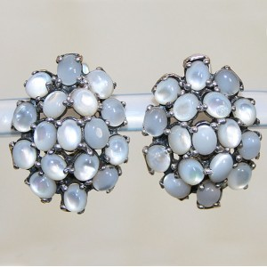 Шикарные СЕРЬГИ с природным ПЕРЛАМУТРОМ, белое золото, стерлинговое серебро