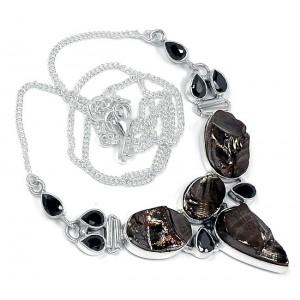 Элитный ШУНГИТ - камень здоровья, оберег и Черный АГАТ в серебре. Редкое КОЛЬЕ