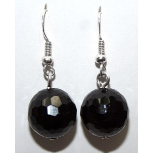 48 ct! Черный ТУРМАЛИН - ШЕРЛ, форма шар в огранке - разрушитель темных энергий, амулет ведьм. Серьги, серебро