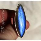 Кольцо с природным Черным Лунным камнем - ЛАБРАДОРОМ в серебре, размер 16,75