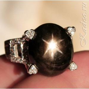Перстень с крупным ЗВЕЗДЧАТЫМ САПФИРОМ. Кольцо размер 17,5