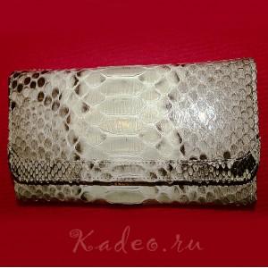 Кошелек бумажник клатч из 100% кожи змеи - ПИТОН. Индонезия
