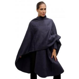 100% Лама АЛЬПАКА - ПОНЧО накидка свингер из Перу. цвет черно-серый