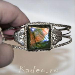 Браслет: природный ЛАБРАДОР / лабрадорит, разновидность - Спектролит - камень мистик в серебре