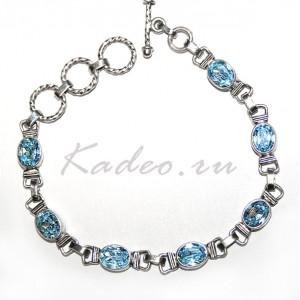 Изящный легкий серебряный браслет с природными ТОПАЗАМИ SKY BLUE