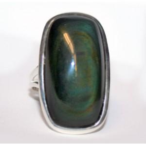 Крупное кольцо - оберег : природный КОШАЧИЙ ГЛАЗ в минерале Радужный ОБСИДИАН. Перстень, серебро 925, размер 18
