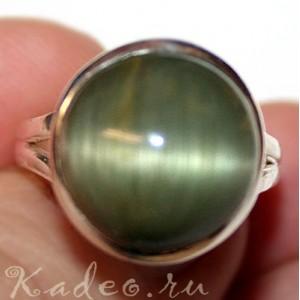 НЕФРИТ с эффектом КОШАЧЬЕГО ГЛАЗА. Перстень, серебро 925, размер 18