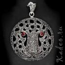 Магия камня МАРКАЗИТ. Крупный кулон ЛЕОПАРД, глаза - ГРАНАТ.  Серебро, золото