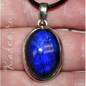 Магия камня ЛАБРАДОРИТ - Черный Лунный лабрадор в серебре, кулон