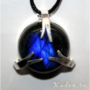 Кулон соединения энергий с магическим камнем ЛАБРАДОРИТОМ - Черный Лунник, серебро