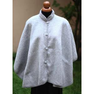 100% Лама АЛЬПАКА - ПОНЧО  АвтоЛеди накидка кофта свингер из Перу. цвет серебристо-серый