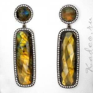 Очень крупные СЕРЬГИ из натурального камня мистика - ЛАБРАДОРА. Чёрное золото, серебро