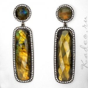 Серьги 62 мм! из натурального ЛАБРАДОРА / лабрадорит - камень мистик. Черное золото, серебро 925