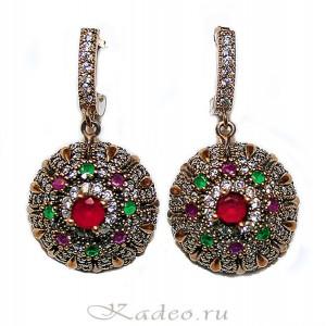 Серьги СУЛТАНША с агатами. Османская коллекция. Серебро