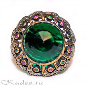 Османский перстень СУЛТАН: АГАТЫ, зеленый АМЕТИСТ - ПРАЗИОЛИТ в серебре с позолотой