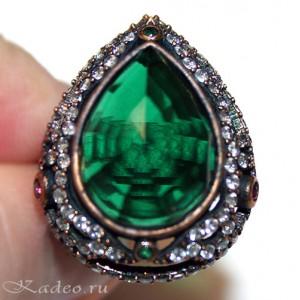 Кольцо османское ХЮРРЕМ СУЛТАН, зеленый АМЕТИСТ - ПРАЗИОЛИТ, агаты в серебре с позолотой