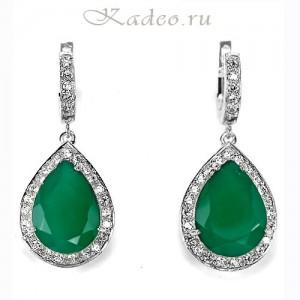 Серьги в османском стиле ХЮРРЕМ СУЛТАН: зеленый АГАТ, серебро, золото