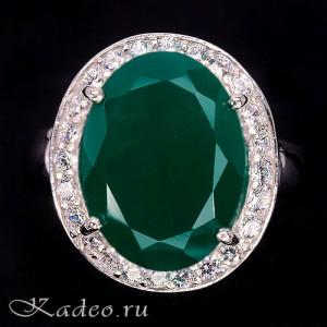 Кольцо с натуральным зеленым АГАТОМ и белыми ТОПАЗАМИ в белом золоте и серебре