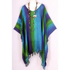 летняя ТУНИКА - ПОНЧО - ПЛАТЬЕ, цвет сине-зеленый, 2X-5X , натуральный шелк, 100% Rayon Малазия