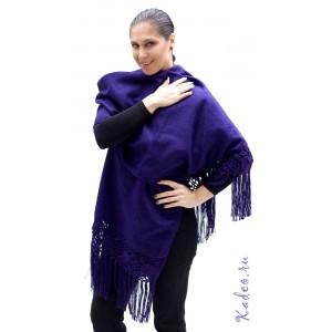 100% Лама АЛЬПАКА - ПАЛАНТИН накидка шарф из Перу. цвет - индиго, фиолетовый