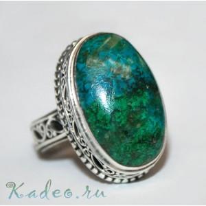ХРИЗОКОЛЛА пейзажная в серебре. Крупное кольцо, перстень, размер 18